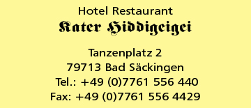 Hotel/Restaurant Kater Hiddigeigei in Bad Säckingen