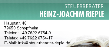 Steuerberater  Heinz-Joachim Rieple in Schopfheim